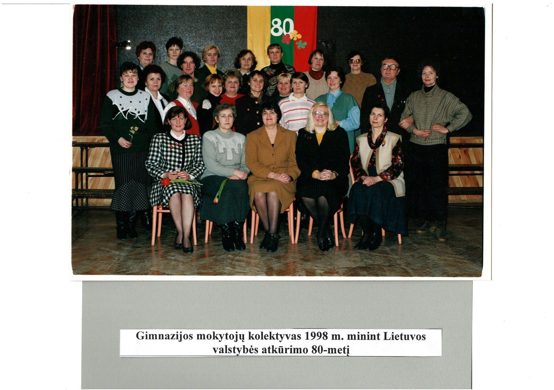 Gimnazijos mokytojų kolektyvas 1998m.