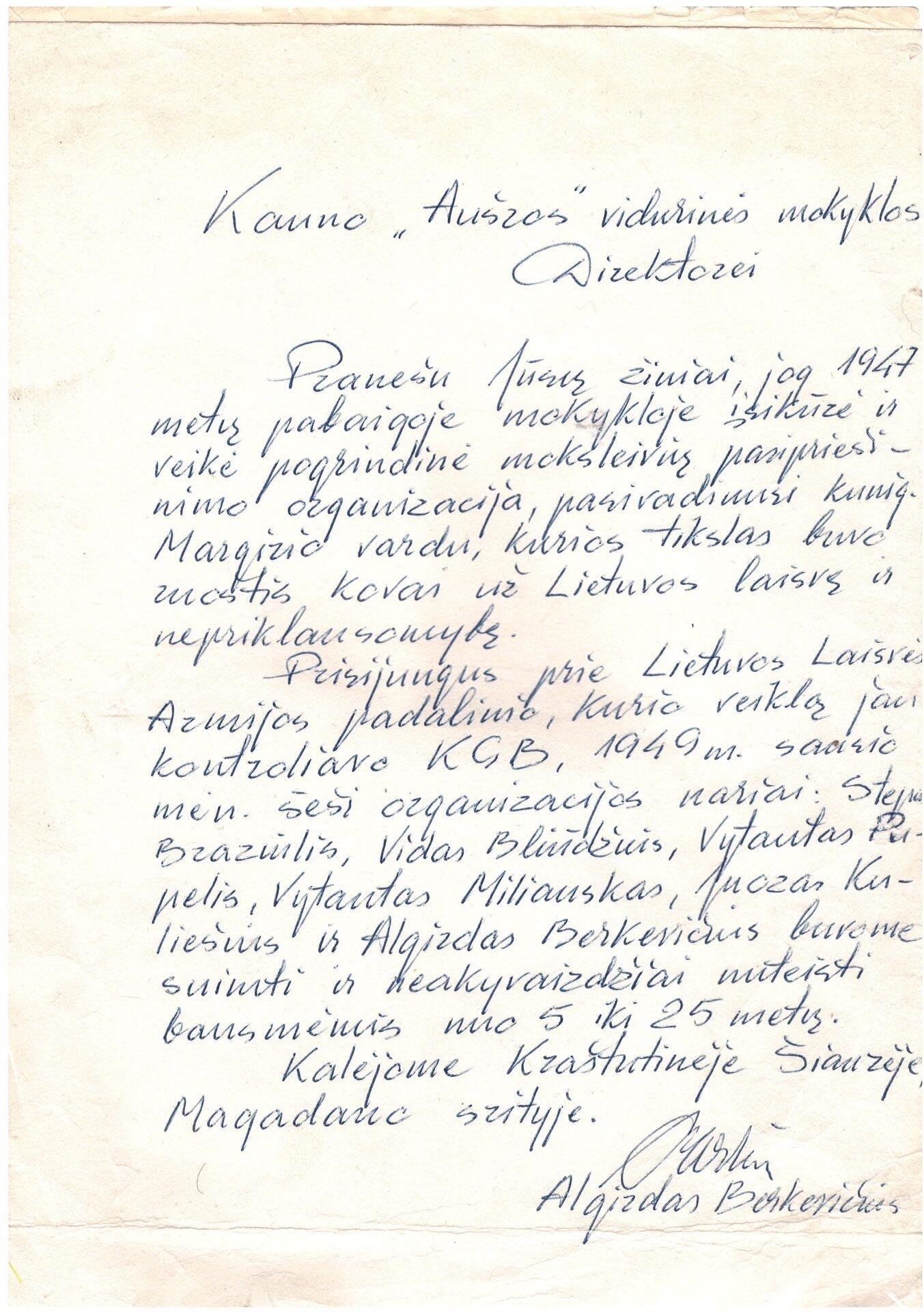 Laiškas mokyklos direktoriui