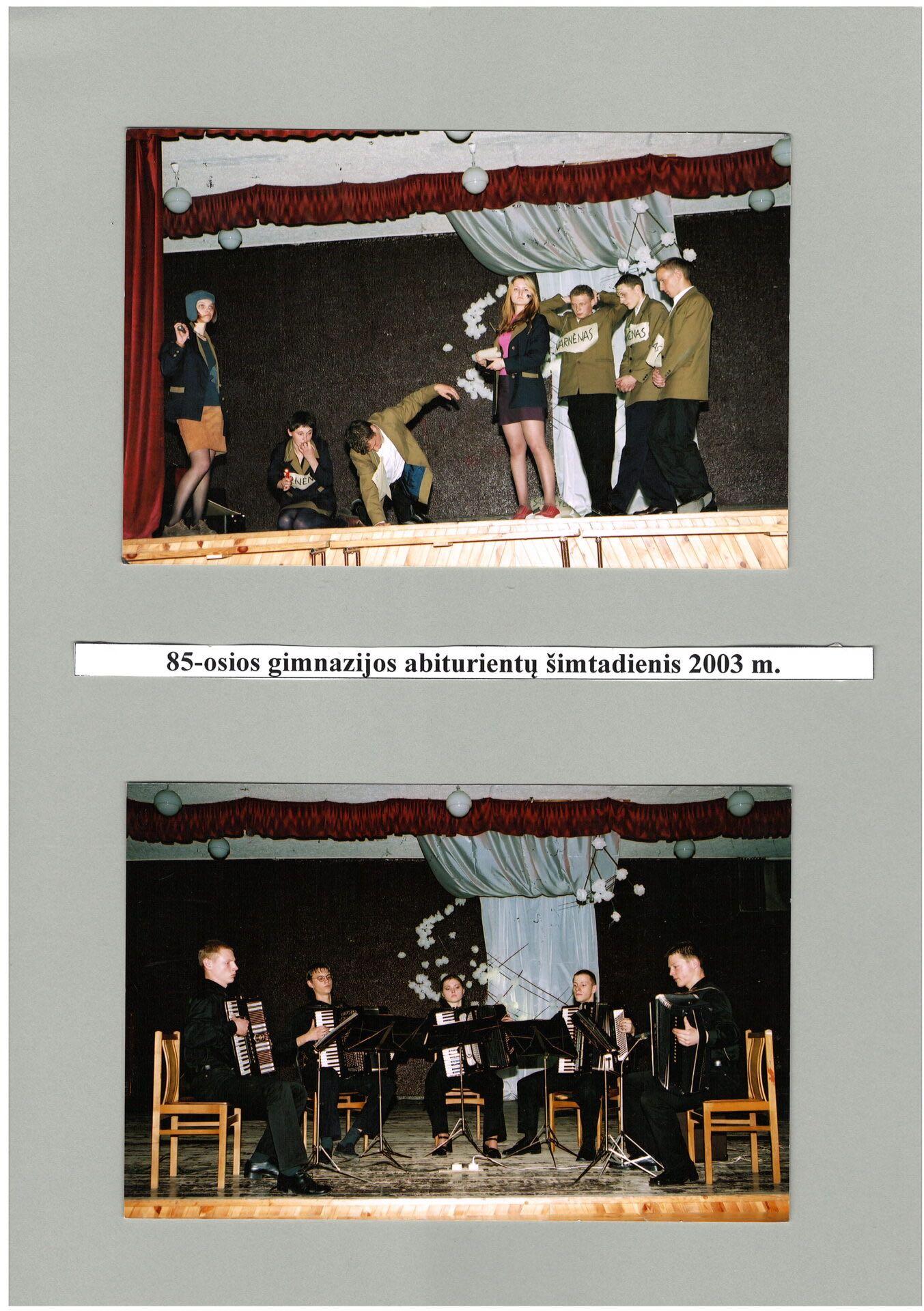 85 - osios gimnazijos abiturientų šimtadienis 2003 m.