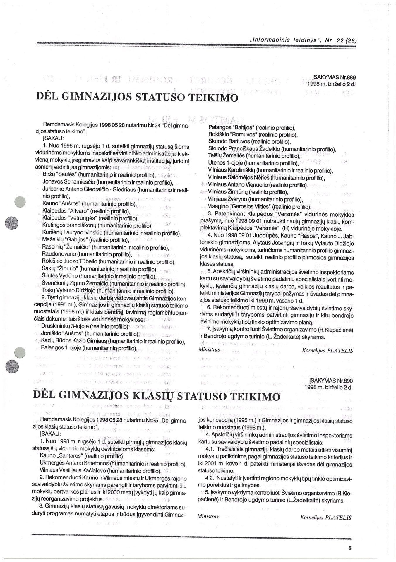 Gimnazijos statuso pakeitimo raštas