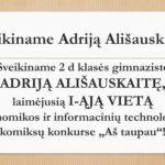 Sveikiname Adriją Ališauskaitę!